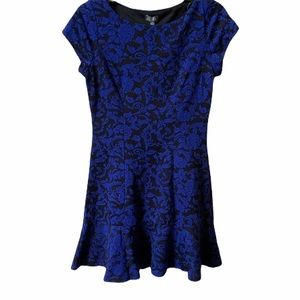 Lily Rose textured drop waist damask print dress